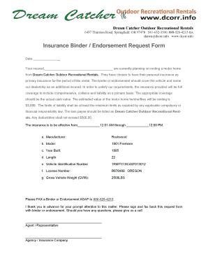 Fillable Online DCORR Insurance Binder.Endorsement Request Form ...