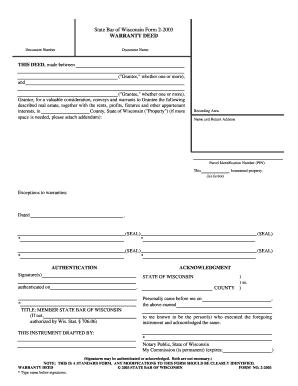 Bill Of Sale Form Wisconsin Warranty Deed Form Templates ...