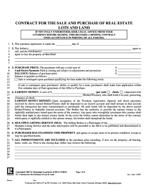 Ms Purchase Real Estate Form Printable Land Contract Forms