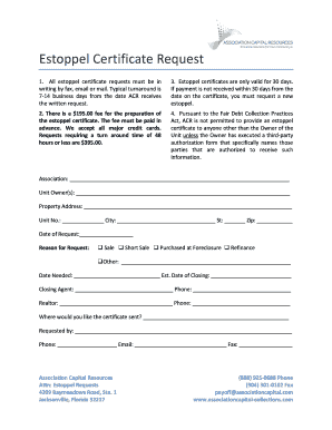 Estoppel Certificate Request - Association Funding with Association ...