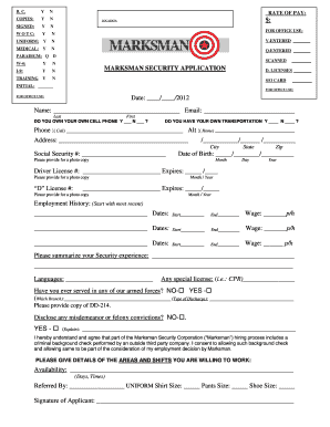 marksman security application form fill online