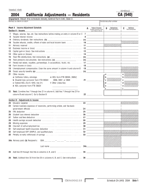 16 Printable schedule ca 540 2012 Forms and Templates