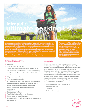 intrepid ultimate packing list form