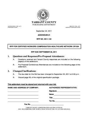 1. Questions and Responses/Pre-Proposal ... - Tarrant County
