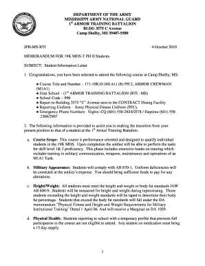 19K MOS-T PH 2 - Welcome Letter - Mississippi National Guard