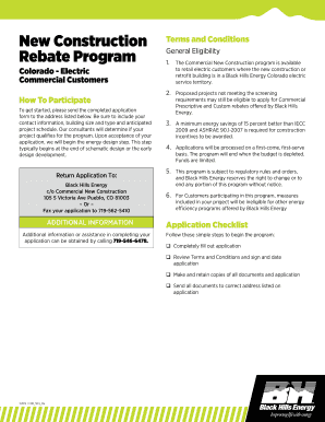 Fillable Online New Construction Rebate Application