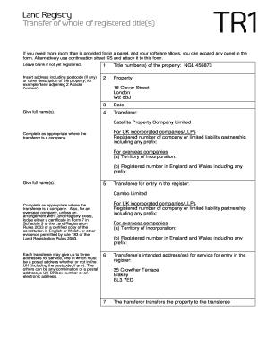 Land Registry Tr1 >> Fillable Online Land Registry Form TR1 - Oxford University ...