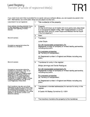 Land Registry Tr1 >> Form Tr1 Land Registry Related Keywords Suggestions Form