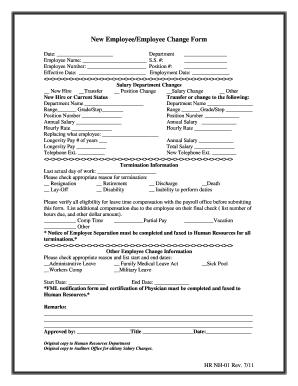 employee change form template