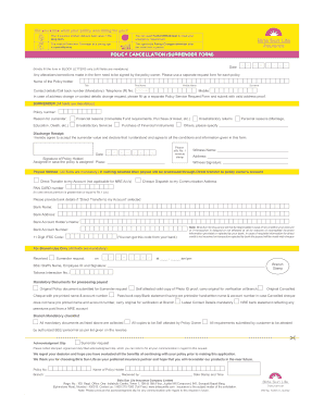 Fillable Online POLICY CANCELLATION (SURRENDER FORM ...