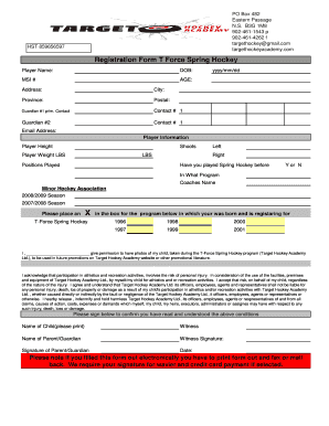 TForce Spring Hockey Registration Tournament Form - About Target ...
