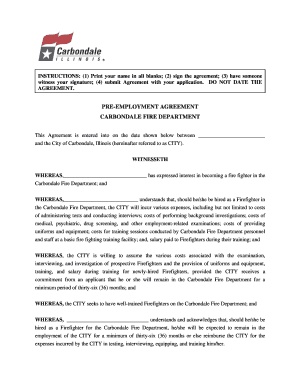 Pre-employment agreement carbondale fire department - City of bb