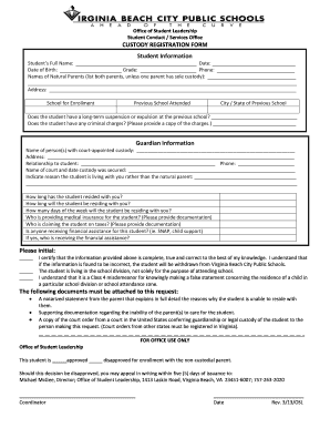 CUSTODY REGISTRATION FORM Please initial - Virginia Beach ...