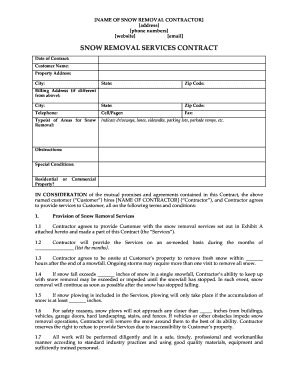 Snow Removal Contract  Blank Contracts