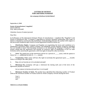 Letter Of Intent To Become A Distributor Form  Increment Letter