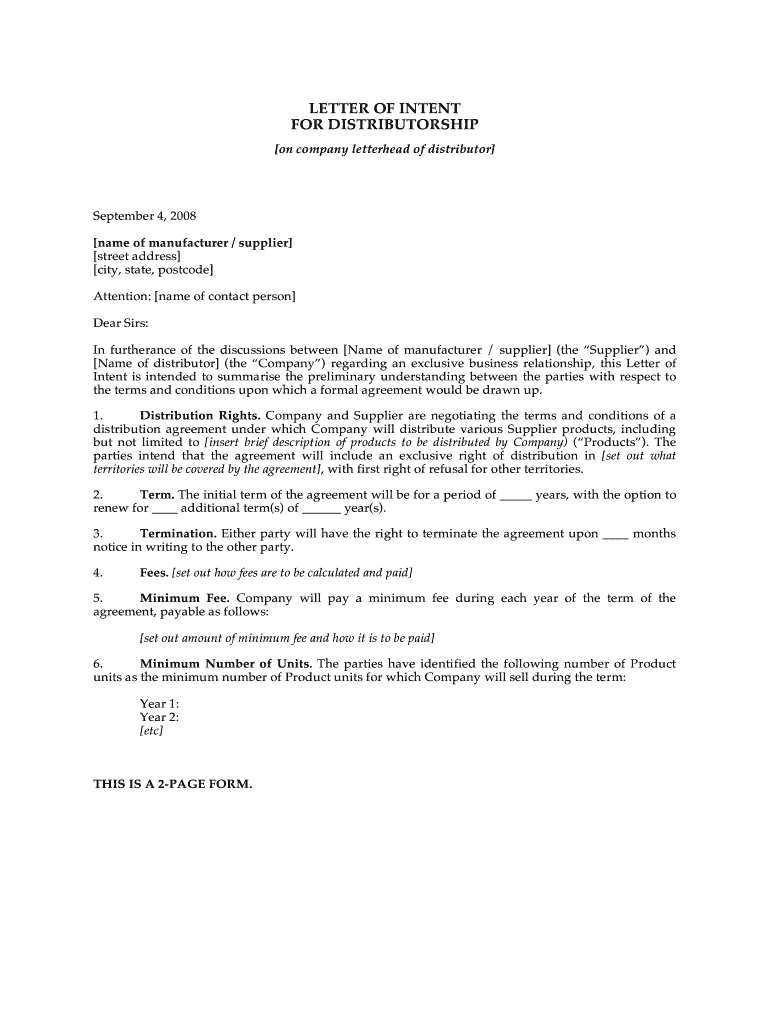 Sample Letter Of Intent To Become Supplier