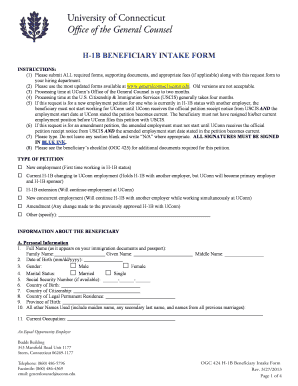 H-1B BENEFICIARY INTAKE FORM - Office of the General Counsel - generalcounsel uconn