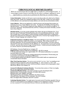 CHRONOLOGICAL RESUME EXAMPLE - UK HealthCare - ukhealthcare uky