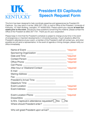 Sample high school president speech forms and templates fillable president eli capilouto speech request form university of kentucky uky m4hsunfo