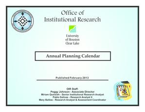 OIR Annual Planning Calendar - updated february 2013 pablo mary ... - prtl uhcl