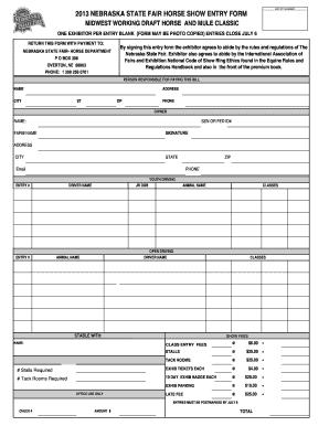 Midwest Working Draft Team Entry Form - Nebraska State Fair