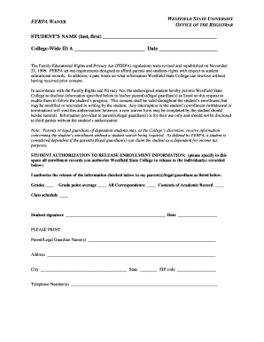 WAIVER FORM - Westfield State University - westfield ma