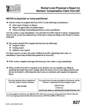 Fillable Online redmond k12 or SAIF 827 Physicians Report Form Fax ...