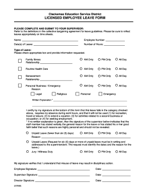 Licensed employee leave form - Clackamas Education Service District