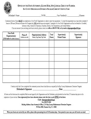 community service hours form pdf