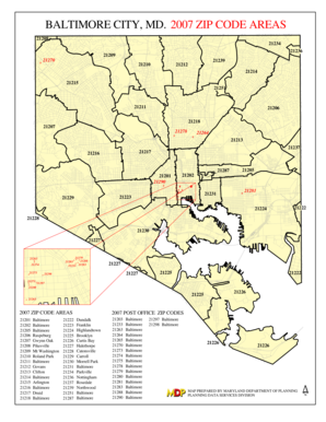 Baltimore City Zip Code Map Fillable Online mdp state md BALTIMORE CITY, MD. 2007 ZIP CODE