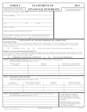 Fillable Florida Statement Of Financial Interests Form 1