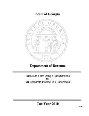 2D Corporate Specifications - Georgia Department of Revenue - etax dor ga