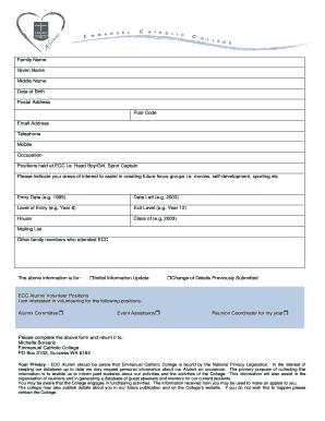 emmanuel catholic college application form