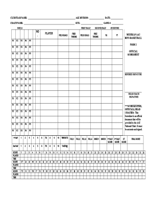 Blank Tournament Score Sheet - Michigan AAU Boys Basketball