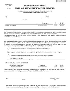 Virginia State Sales Tax >> State Sales Tax State Sales Tax Exemption Certificate Virginia