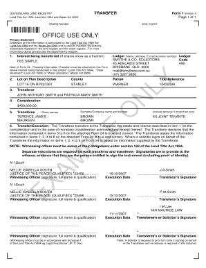 Titles Registry - example of a completed form 1, transfer