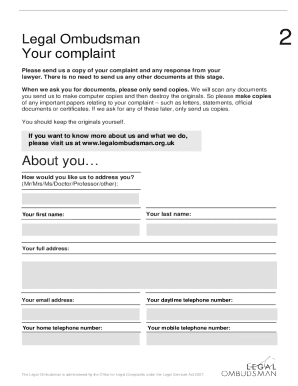rate this form - Complaint Form