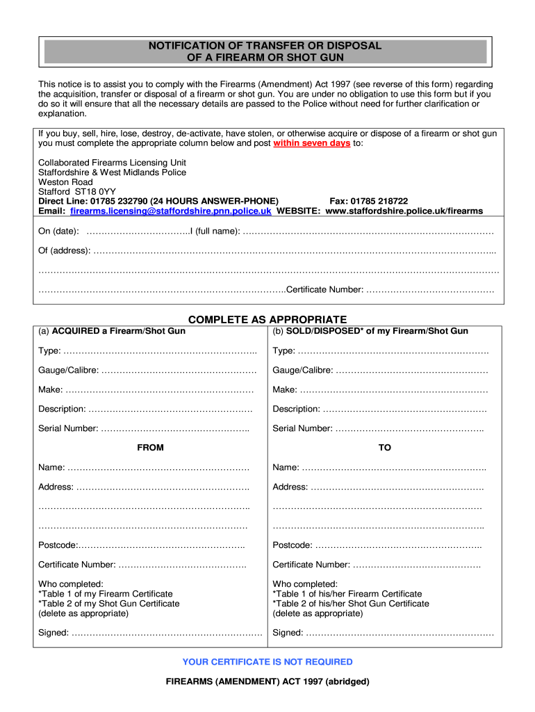 UK Notification of Transfer or Disposal of a Firearm or Shot Gun Pertaining To Certificate Of Disposal Template