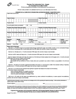 Fillable Online Pharmacy Prior Authorization Form Synagis Fax ...