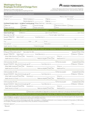Fillable Online Brokernet Kp Enrollment Change Of Information Form