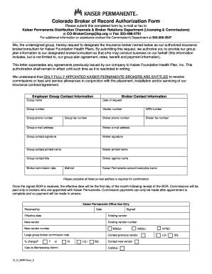 Broker Of Record Letter Kaiser - Fill Online, Printable, Fillable ...