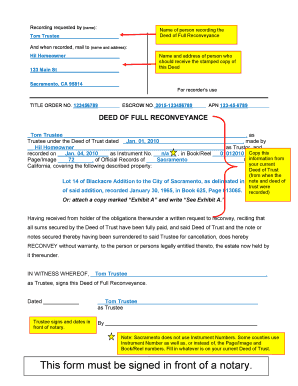 Deed Of Full Reconveyance Form Templates - Fillable & Printable ...