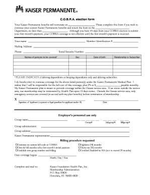 kpbrokernet Fillable Online brokernet kp COBRA election form - Kaiser Permanente ...