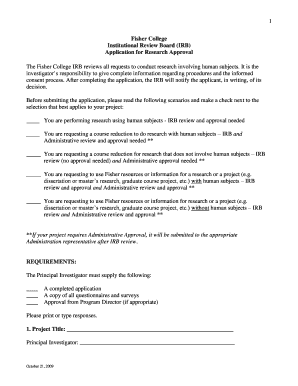 Fillable Online IRB Application form - Fisher College Fax Email ...