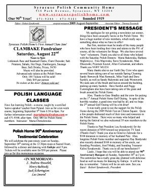 Fillable Online Syracuse Polish Community Home 915 Park Avenue