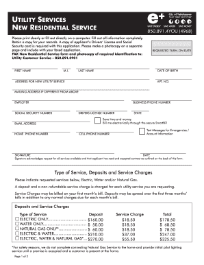 Fillable Online Fsucssa New Utility Service Form City Of