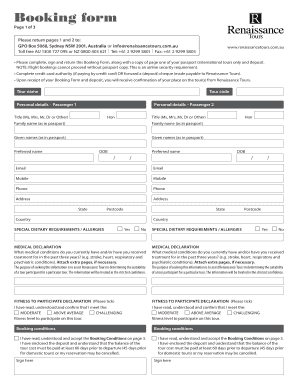 Booking form - Renaissance Tours
