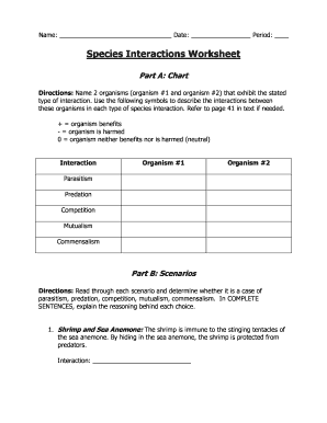 Species Interactions Worksheet Fill Online Printable Fillable