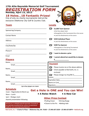 17th Allie Reynolds Memorial Golf Tournament REGISTRATION FORM - redearth