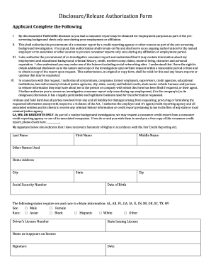 pre employment background check authorization form - Edit, Fill ...
